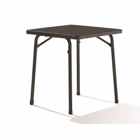 SIEGER Gartentisch Eckig 70x70 Cm, Grau, Stahlrohrgestell,  Mecalit Pro Platte