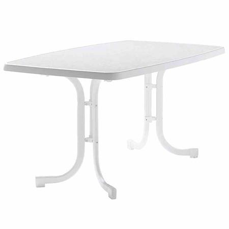 SIEGER Gartentisch Oval 150x90 Cm, Weiß, Stahrohrgestell, Mecalit Pro Platte