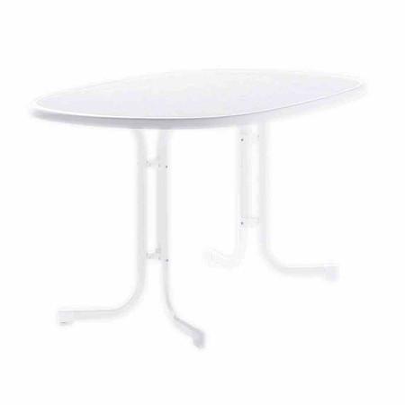 SIEGER Gartentisch, weiß, Kunststoffgestell, Mecalit-Dekorplatte