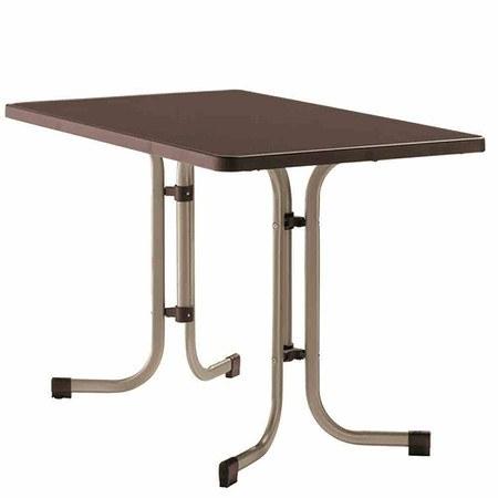 SIEGER Tisch 70 x 115 cm, champagner, klappbar, Dekorplatte eckig
