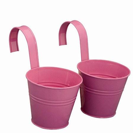 SIENA GARDEN Blumentopf 2er Set, Stahlblech pink, inklusive Halter Ø16x14,5cm