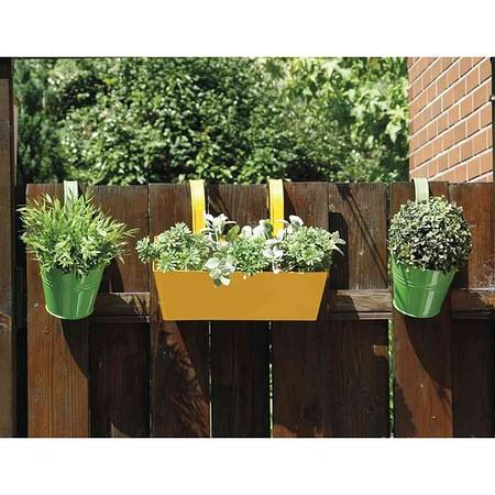 SIENA GARDEN Blumentopf 2er Set, Stahlblechgrün, inklusive Halter Ø16x14,5cm