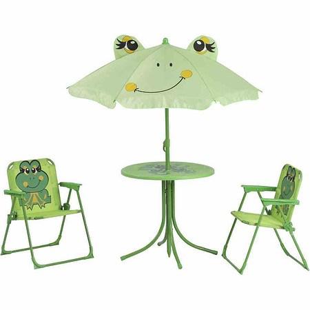 SIENA GARDEN Froggy Kinderset Frosch, 2x Klappsessel, 1x Tisch, 1x Schirm