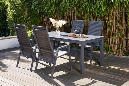SIENA GARDEN Gartenmöbelset Como 5-teilig mit Esstisch und Dining Move Sessel