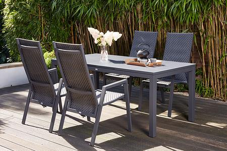 SIENA GARDEN Gartenmöbelset Pisa 5-teilig mit Ausziehtisch und Dining Move Sessel