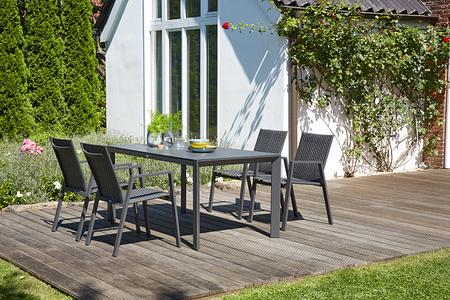 SIENA GARDEN Gartenmöbelset Puglia 5-teilig mit Esstisch und Stapelsessel