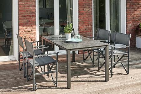 SIENA GARDEN Gartenmöbelset San Diego 5-teilig mit Loft-Tisch Silber-Schwarz