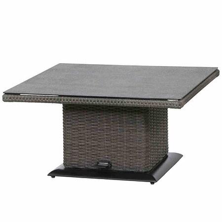 SIENA GARDEN Lift Tisch Porto, 90x90 cm, Aluminium / Geflecht grau,Spraystone