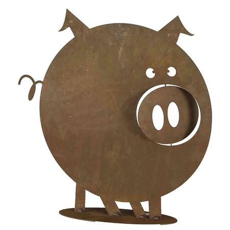 SIENA GARDEN Schwein Gustav auf Platte Metall mit Edelrost, H49cm