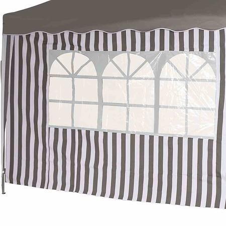 SIENA GARDEN Seitenteile zu Faltpavillon, grau/weiß, 2er Set, 1x mit und 1x ohne Fe