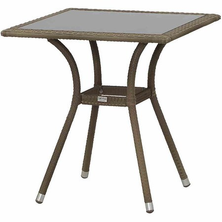 SIENA GARDEN Wien Tisch 70x70 cm, sand, Aluminiumgestell, Glasplatte braun