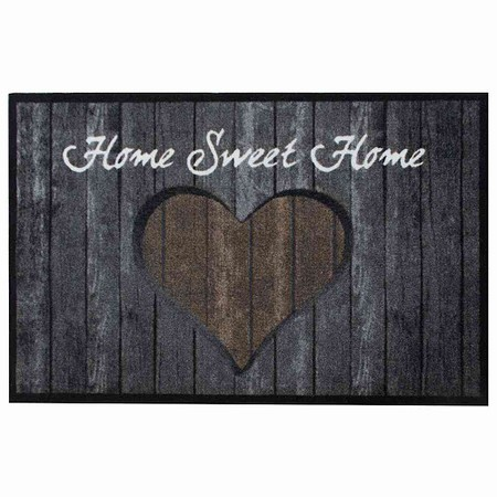 SIENA HOME Fußmatte Peva Hearts Timber braun 50 x 75 cm