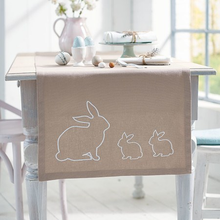 Tischläufer Oster-FreudeNatur/Weiß