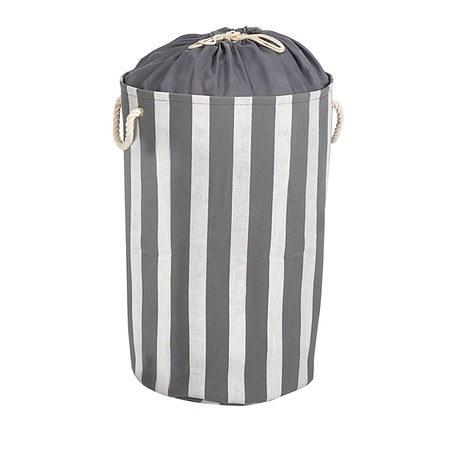 Wäschekorb Streifen Grau/Weiß