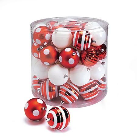 Weihnachtskugel-Set, 39 tlg. rot/weiß
