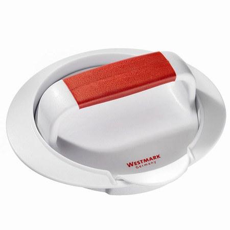 WESTMARK Hamburgermaker weiß/rot 16 x 6 cmmit Hebevorrichtung