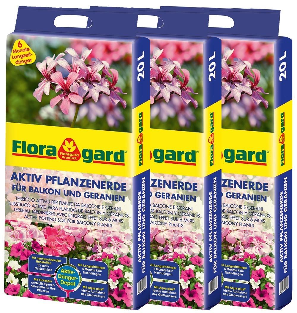 Floragard Aktiv Pflanzenerde für Balkon und Geranien 3 x 20L