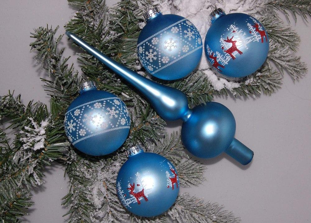 Weihnachtskugeln Blau.Mein Schöner Garten Weihnachtskugeln Mit Baumspitze Blau 5 Teilig