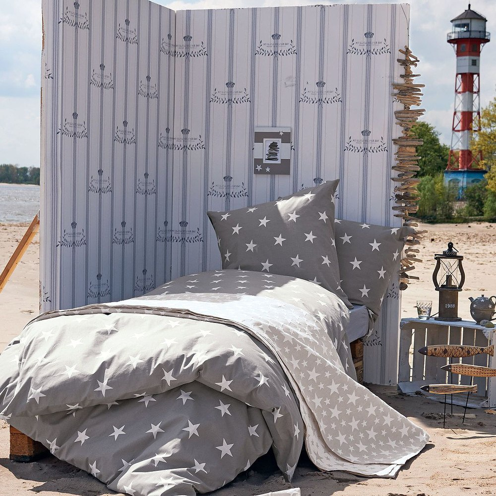 bettw sche sterne hellgrau 135 x 200 cm g nstig online kaufen mein sch ner garten shop. Black Bedroom Furniture Sets. Home Design Ideas