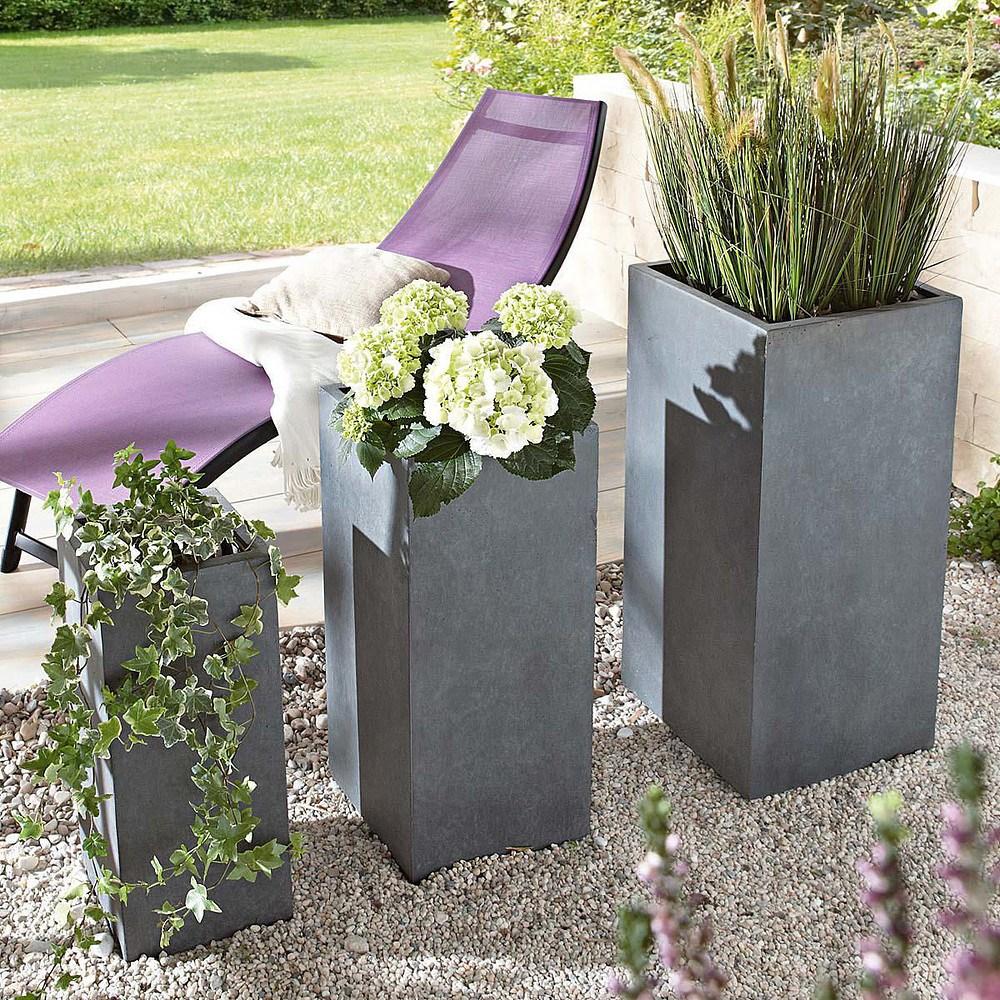 pflanztopf set 3 tlg galileo grau g nstig online kaufen. Black Bedroom Furniture Sets. Home Design Ideas