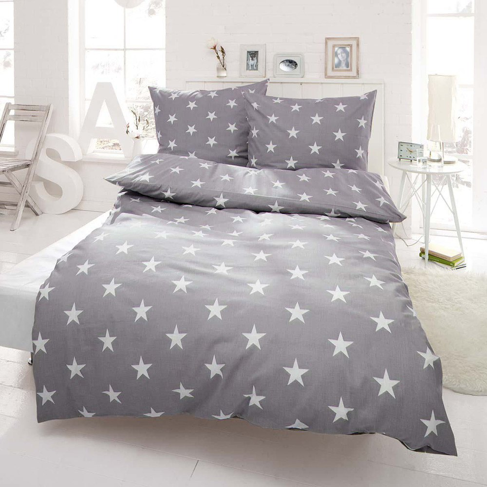 Bettwäsche Sterne Hellgrau 155 X 220 Cm Günstig Online Kaufen Mein