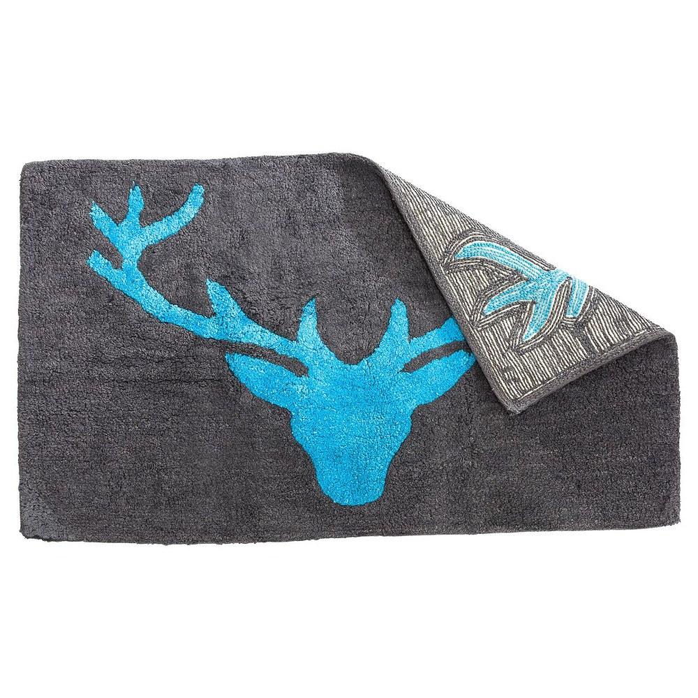 badteppich hirschkopf grau t rkis 70 x 120 cm g nstig online kaufen mein sch ner garten shop. Black Bedroom Furniture Sets. Home Design Ideas