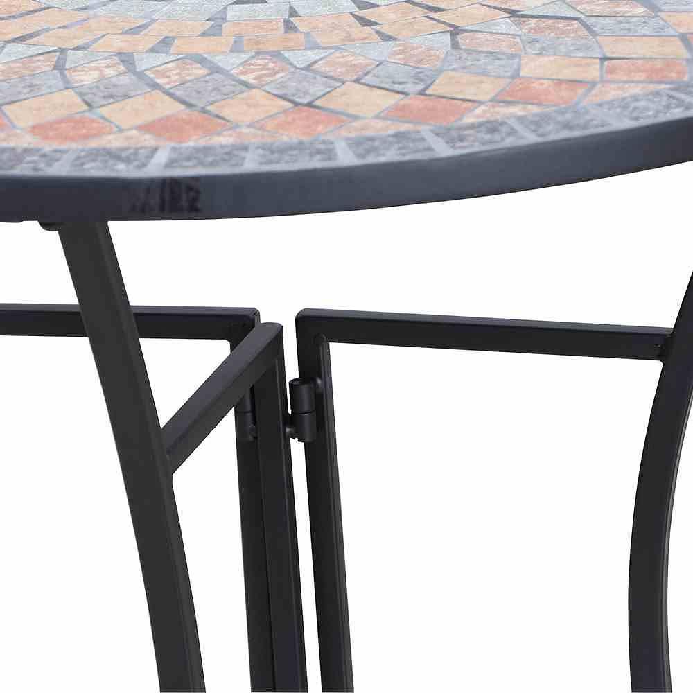Siena Garden Tisch Prato Halbrund 70 Cm Eisen Mit Mosaikoptik